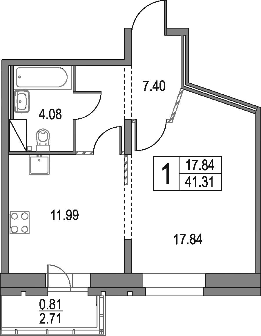 1-к.кв, 41.31 м²