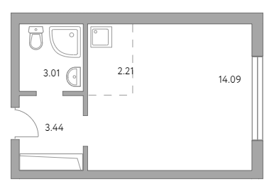 Студия, 22.75 м²