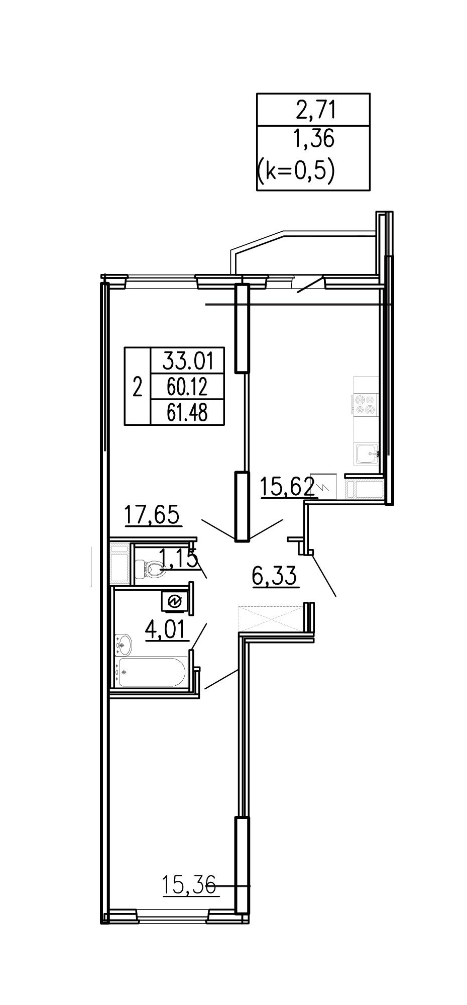 3-к.кв (евро), 62.84 м²