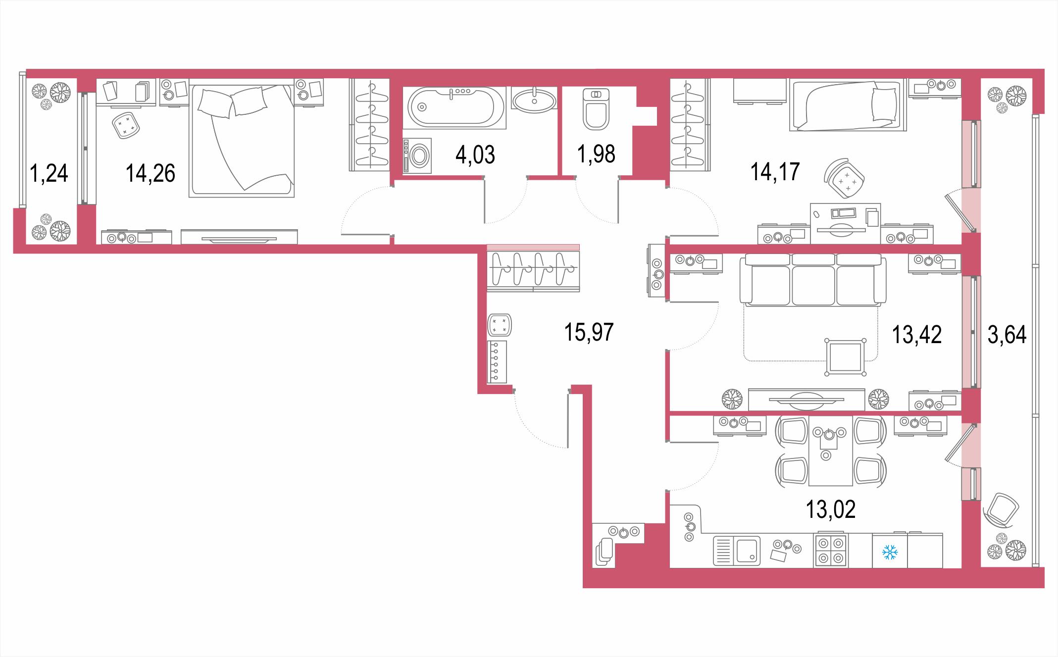 3-к.кв, 86.61 м²