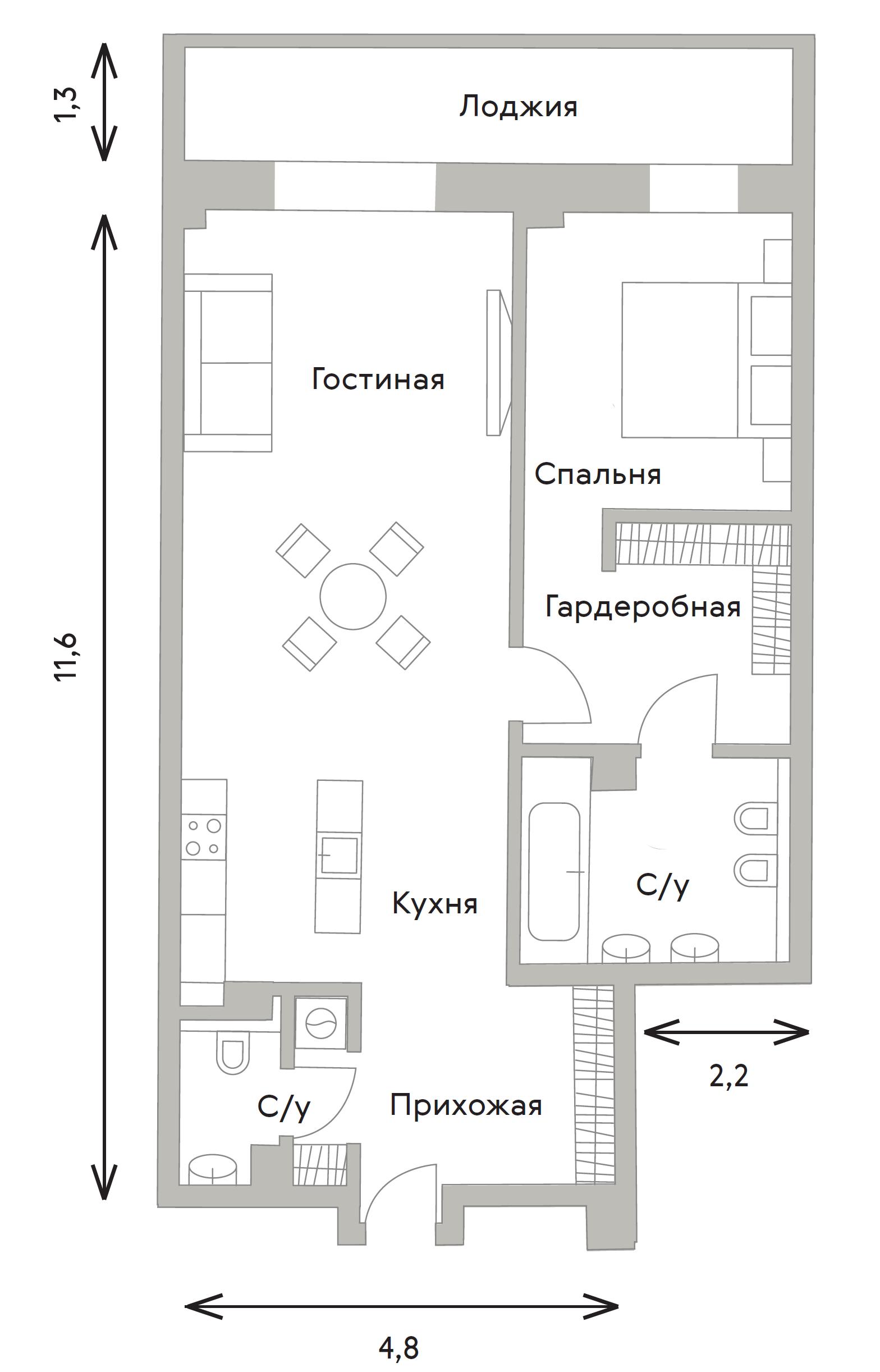 2Е-комнатная, 76.02 м²– 2