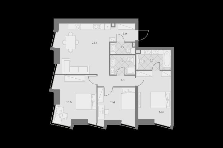 4Е-комнатная, 85.6 м²– 2