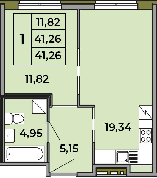 2Е-комнатная квартира, 41.26 м², 1 этаж – Планировка