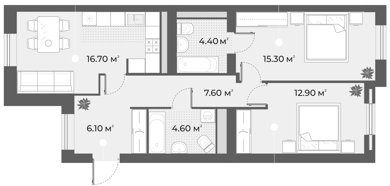 3Е-комнатная квартира, 67.6 м², 3 этаж – Планировка