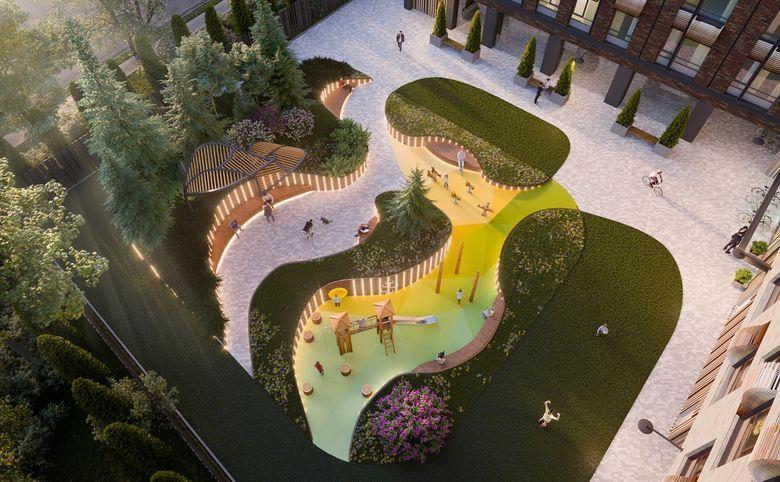 Лаунж-зоны для взрослых и игровые площадки для детей