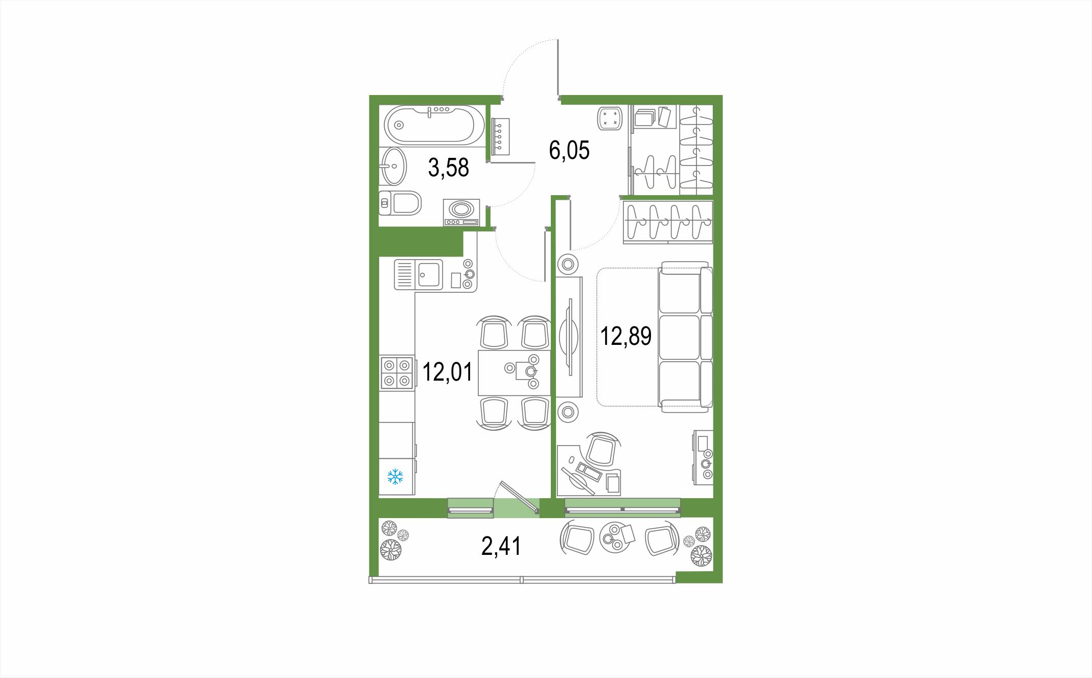 1-к.кв, 36.94 м², от 3 этажа