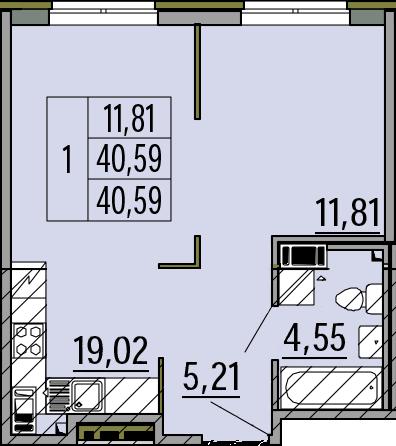 2Е-комнатная, 40.59 м²– 2