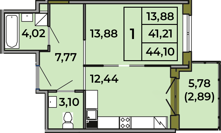 1-комнатная, 41.21 м²– 2