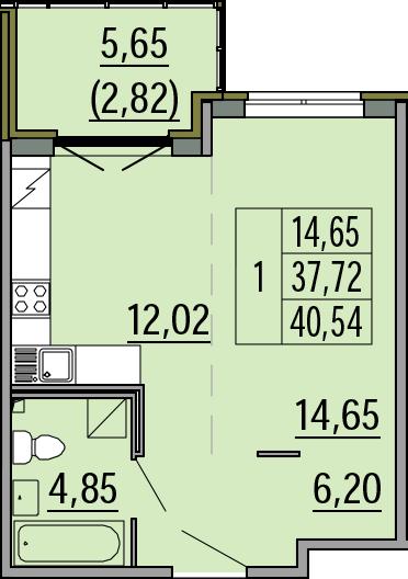 Студия, 40.54 м²– 2