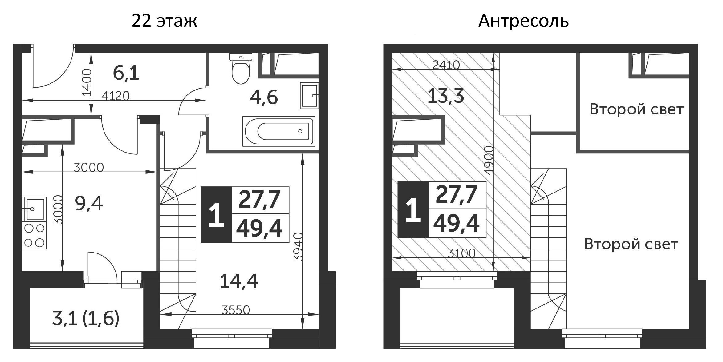 1-комнатная, 49.4 м²– 2