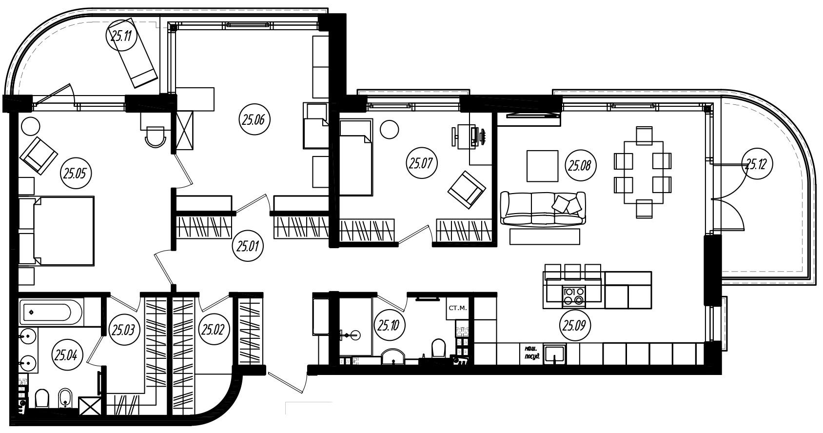 4Е-комнатная, 132.38 м²– 2