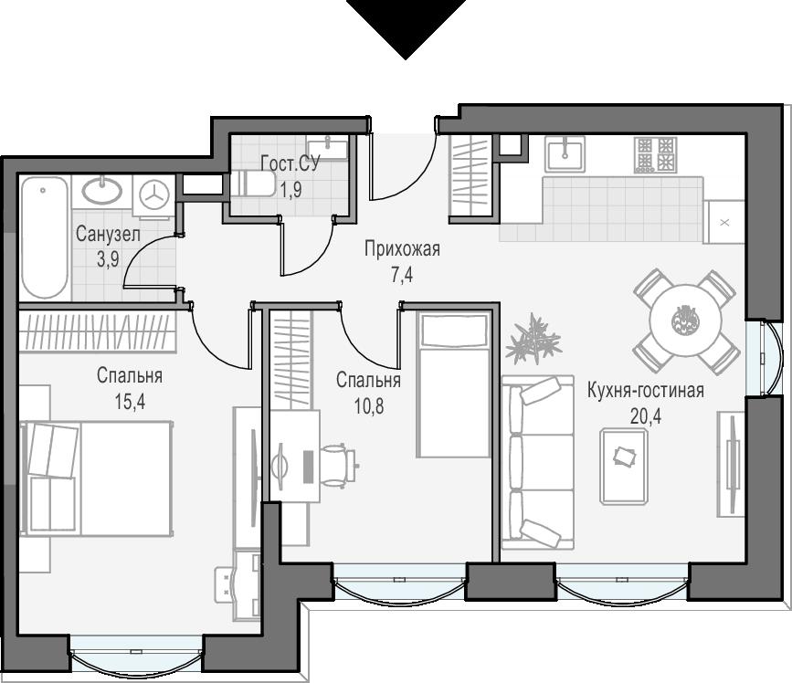 3Е-к.кв, 59.7 м², 10 этаж