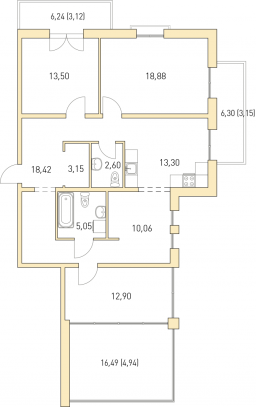 3-к.кв, 109.07 м²