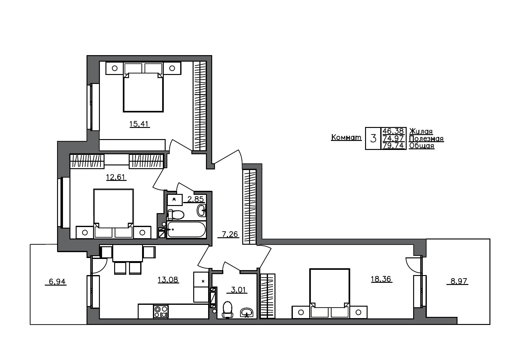 3-к.кв, 79.74 м²