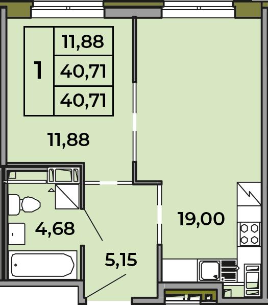 2Е-комнатная, 40.71 м²– 2