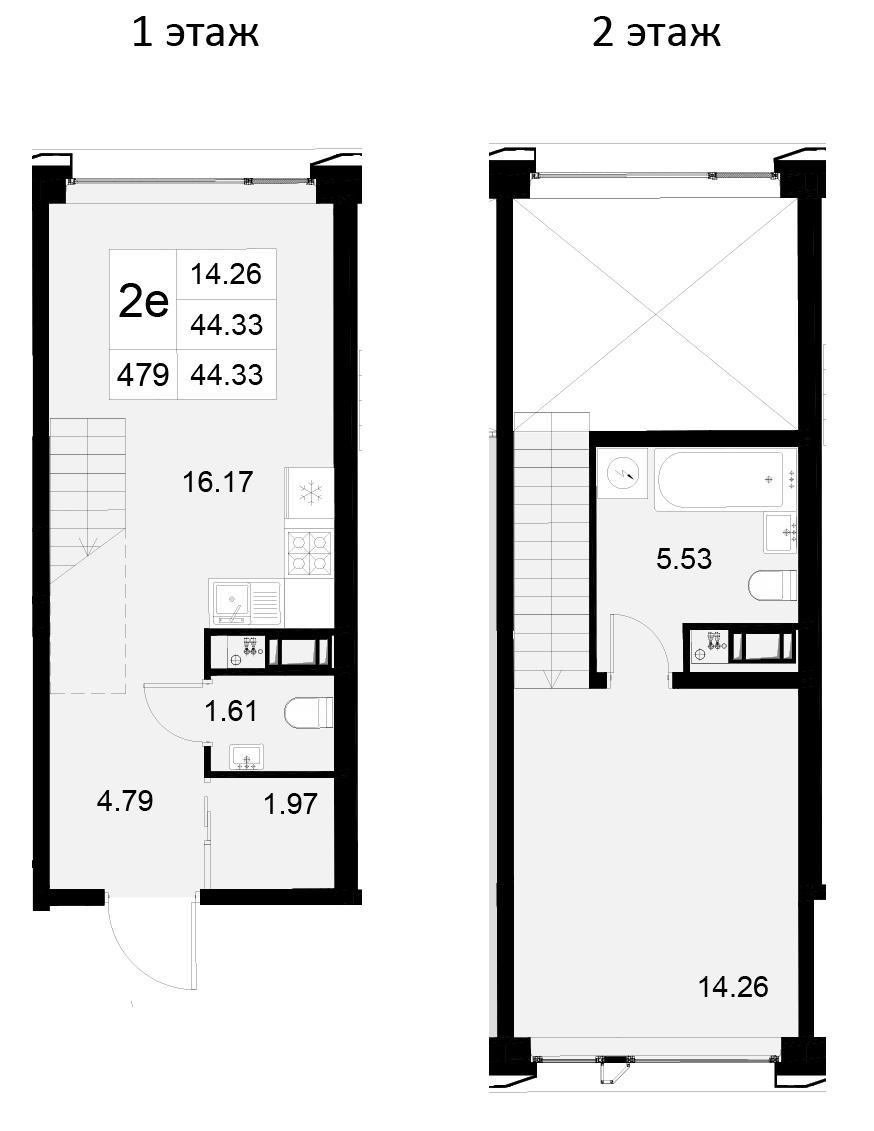 2Е-к.кв, 44.33 м²