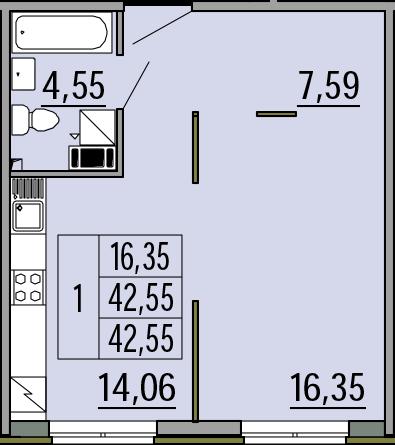 1-комнатная, 42.55 м²– 2