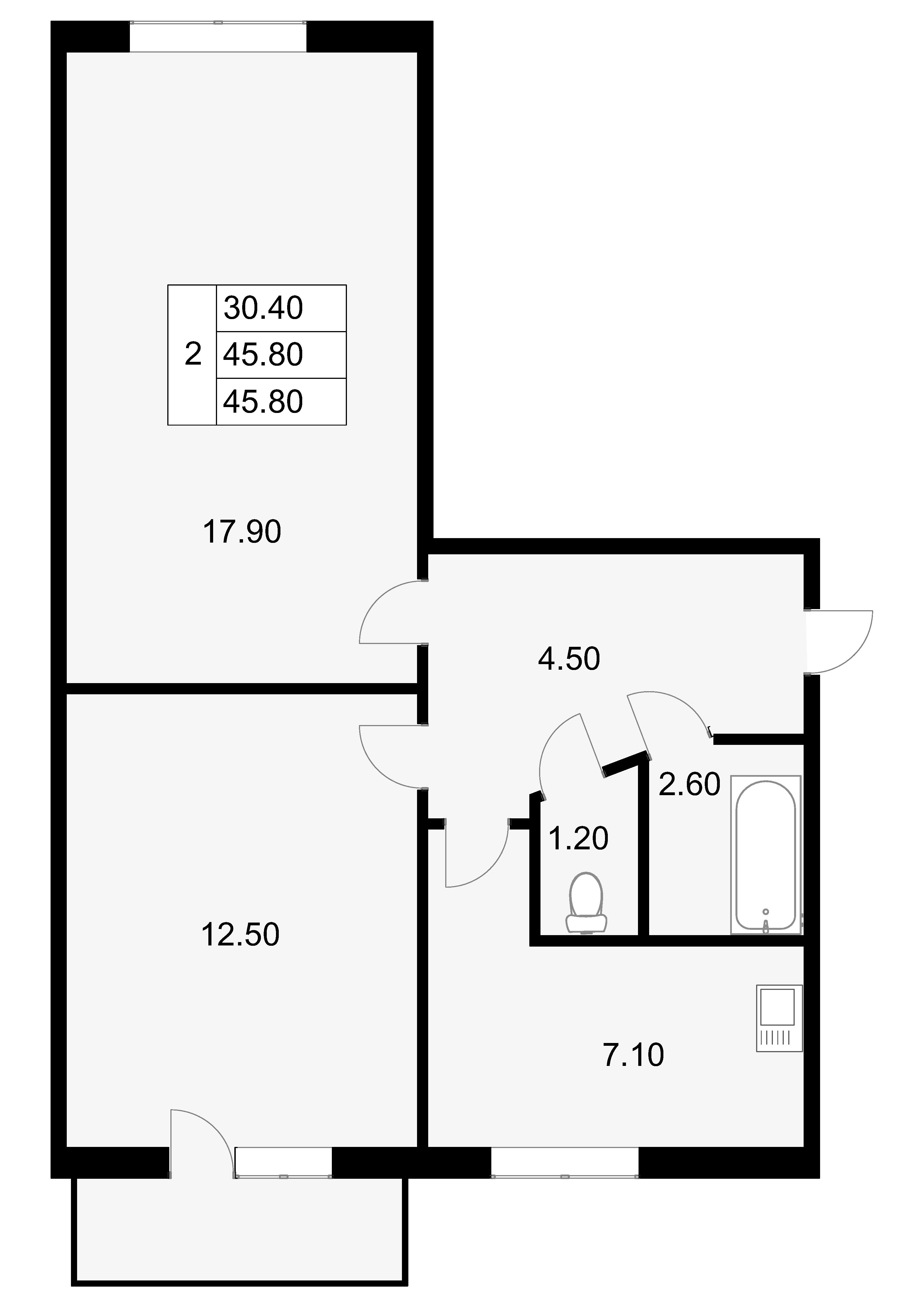 2-к.кв, 45.8 м²